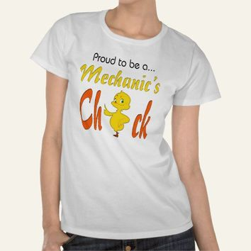 Proud to Be a Mechanic's Chick Auto Mechanic gifts Shirt from Zazzle.com