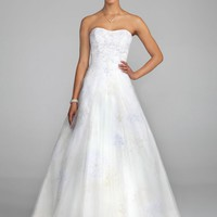 Strapless Print A Line Gown with Tulle Overlay - David's Bridal - mobile