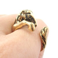 Detailed Horse Pony Animal Wrap Around Ring in Shiny Gold | US Size 4 to 9