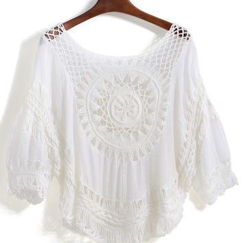 Hollow Loose Crop Blouse