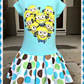 girls MINION Dress Dispicable Me 2 custom boutique ready to ship4/5 6/6X  7/8 10/12 14/16