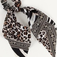 Multi Animal Print Scrunchie Scarf
