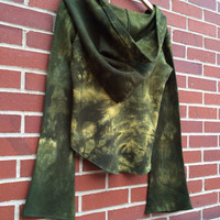 Crop Hooded Top Fleece with Extra Long Sleeve Hand Dyed S/M