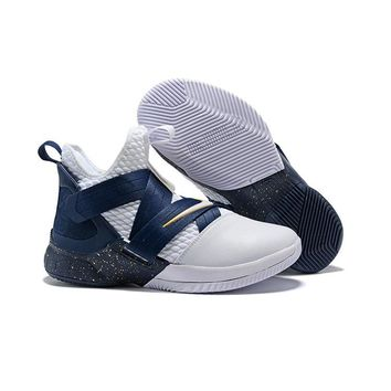 Nike LeBron Soldier 12 White/Midnight Navy-Mineral Yellow - Best Deal Online