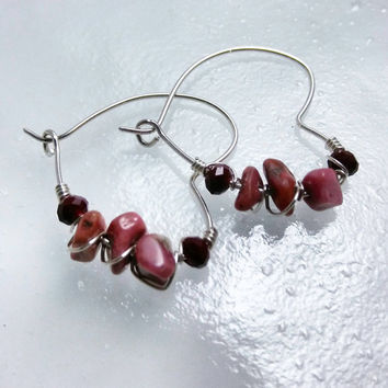 Heart Hoops, Silver Heart Earrings with Gemstones & Crystals, Heart Earrings, Silver Hoop Earrings, Rhodochrosite and Oxblood Red Crystal