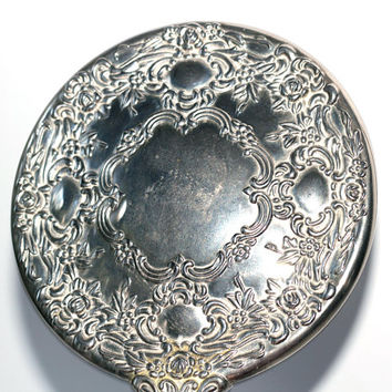 Silver Hand Mirror | Ornate Silverplate Hand Mirror with Raised Details Back and Front | Vintage Vanity Mirror | Dressing Table Mirror