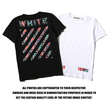 OFF WHITE  Cotton Short Sleeve Summer Round-neck T-shirts [11501029708]