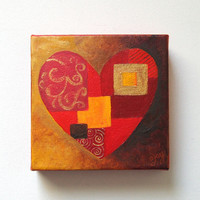 Original Painting, PATCHWORK HEART, 6x6 Acrylic on Canvas, Home Decor, Romantic Art