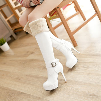 On Sale Hot Deal Knee-length Stylish Zippers Round-toe High Heel Winter Black White Boots [9432960970]