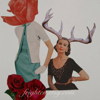 Spring Paper Collage, Rose and Betty, One of a Kind Nature Floral Art