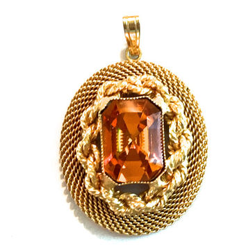 Topaz Glass Pendant, Gold Plate Textured, Twisted Rope Design, Emerald Cut Crystal Stone, Oval Shape, Vintage, Open Back, Multi Dimension