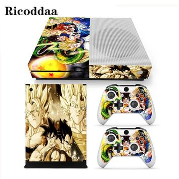 Dragon Ball Design Decal Skin For Microsoft Xbox One Slim Skin Sticker+2PCS Controller Skins For Xbox One S Game Accessories