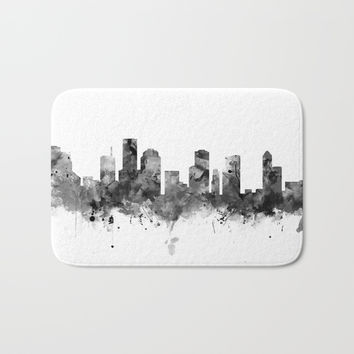 Houston Skyline Black and White Bath Mat by monnprint