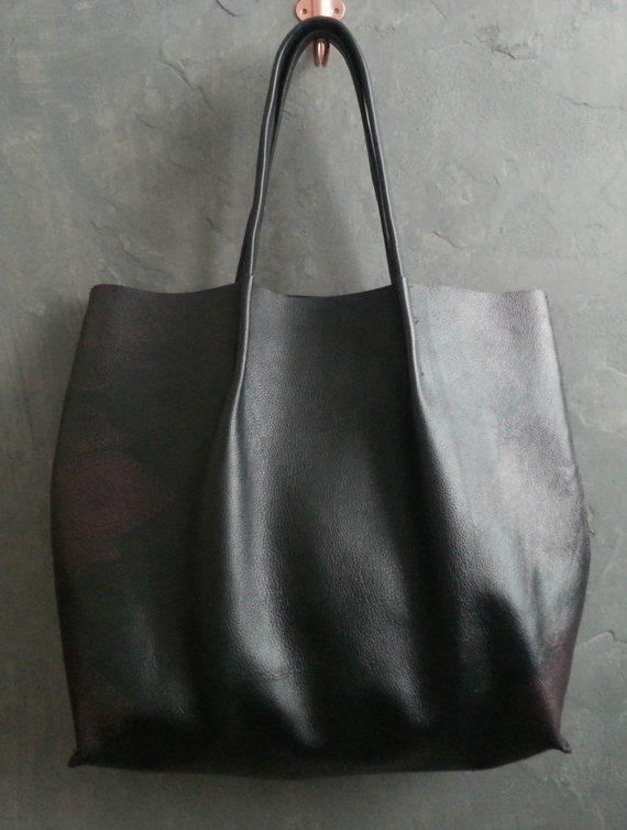 Large Black Leather Shopper Tote, from JobiDsgns on Etsy | want