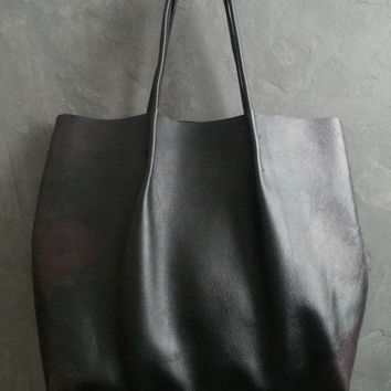 Large Black Leather Shopper Tote, shoulder bag with Burgundy Print
