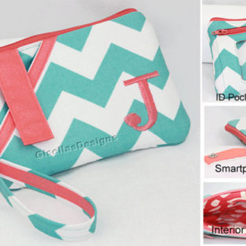 Personalized iPhone wristlet with ID Pocket / smart phone wallet/ ID wallet/ Phone Clutch/ Choose your Fabric