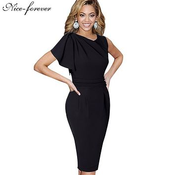 Nice-forever Lady Elegant Ruffle Sleeve Knee length Work Office Casual Slim Wiggle Pencil Sheath Bodycon Woman Dress B311