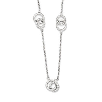 925 Sterling Silver White Synthetic Cubic Zirconia Circle Link Station Necklace