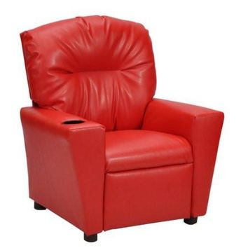 Kids, Toddlers Upholstered Vinyl Recliner Chair with Cup Holder
