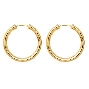 Gold-Filled Sterling Silver Endless Hoop Earrings (3mm Thick), All Sizes