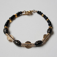 Akan weight and African vintage beads bracelet