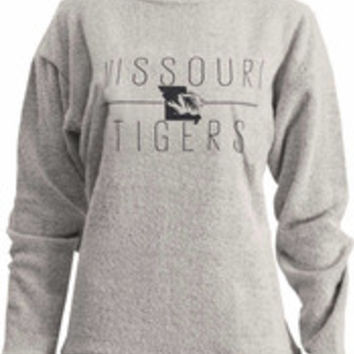 Missouri Tigers Womens Oatmeal Comfy Terry Crew Sweatshirt - 22641363