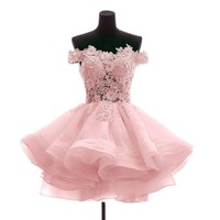 Angela Off the Shoulder Organza Short Prom Homecoming Dresses