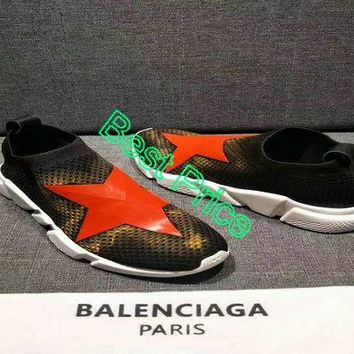 nike sneakers vintage Balenciaga Speed Knit Trainers Black Yellow With Red Stars Logo sneaker