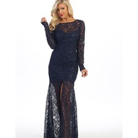 Preorder - Navy Blue Beaded Lace Long Sleeve Illusion Long Gown 2016 Prom Dresses