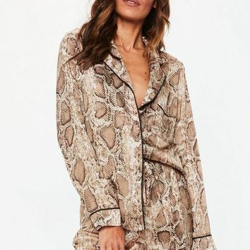Missguided - Brown Snake Print Satin Long Sleeve Pajamas Set