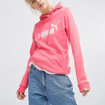 Puma Pullover Hoodie With Coral Logo at asos.com