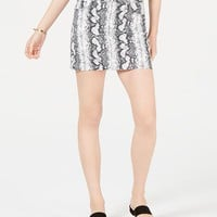 Tinseltown Juniors' Snake-Embossed Denim Mini Skirt Juniors - Skirts - Macy's
