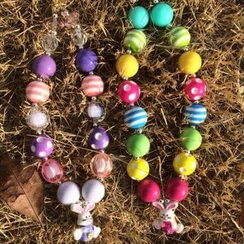 EASTER BUNNY CHUNKY BEAD NECKLACE #2