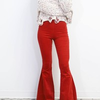 Start Over Corduroy Long Flare Rust Pants