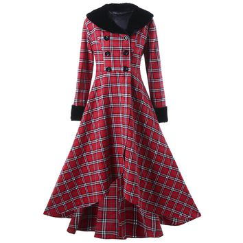 Wipalo Fashion Brand Winter Plus Size Double Breasted Checked Plaid Swing Women Coat Large Size Oversize Jackets XL-5XL