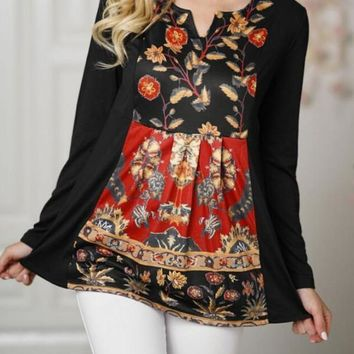 New Black Floral Print Ruffle Deep V-neck Long Sleeve Bohemian Mexican Blouse