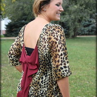 Plus Size Cheetah Print blouse with burgundy bow - Filly Flair