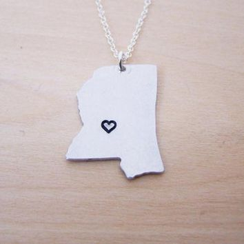 Hand Stamped Heart Mississippi State Sterling Silver Necklace / Gift for Her