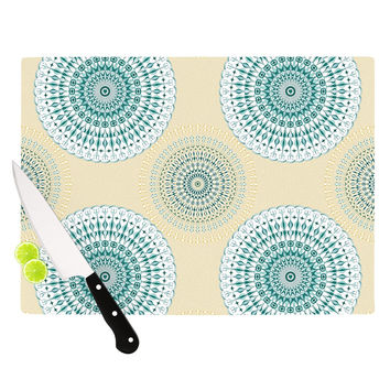 "Julia Grifol ""Soft Mandalas"" Green Yellow Cutting Board"