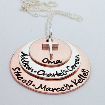 Hand Stamped Necklace Charm Mommy Jewelry Custom Stack Copper and stainless steel 3 discs Christmas