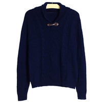 Solid Cable Knitted Pullover Paneled Sweater