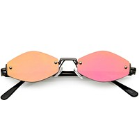 Retro 1990's Small Geometric Hexagon Mirrored Lens Sunglasses C592