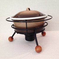 Fondue Chafing Covered Casserole Retro Atomic Warmer