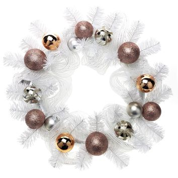 Decorated Mesh Ribbon & Rose Gold Spheres Christmas Wreath, White/Silver, 21-Inch