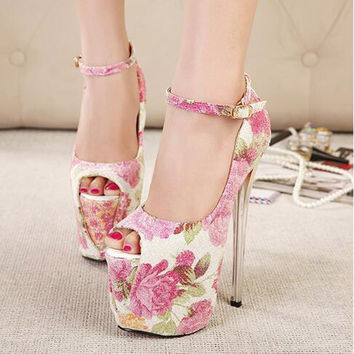 Printing Leather Extreme Fetish Women Single Shoes Peep Toe Ultra High Heels Buckle New For Platform Thin Heel Stylish Sexy