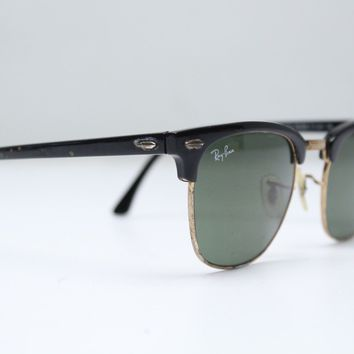 Ray Ban Clubmaster RB3016 FRAMES ONLY Black Gold Rim Italy For Repair W0365