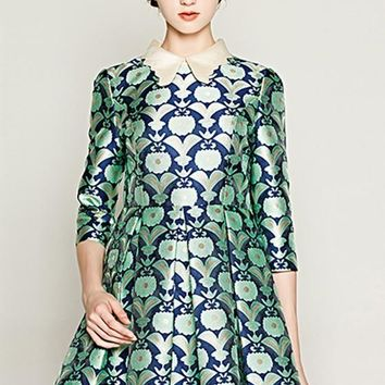Green Floral Print Pleated Peter Pan Collar Three Quarter Length Sleeve Dress