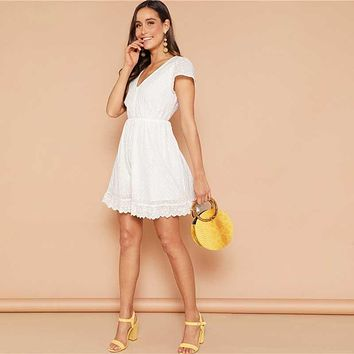9a1aaee46b52 SHEIN White Lace Eyelet Single Breasted V-neck Solid Dress Women