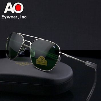 Aviation Sunglasses Men 2018 driving glasses pilot American Army Military Optical AO police SunGlasses glasses Oculos de sol