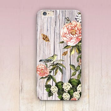 Floral Wood Print Phone Case iPhone 6 Case - iPhone 5 Case - iPhone 4 Case - Samsung S4 Case - iPhone 5C - Tough Case - Matte Case - Samsung